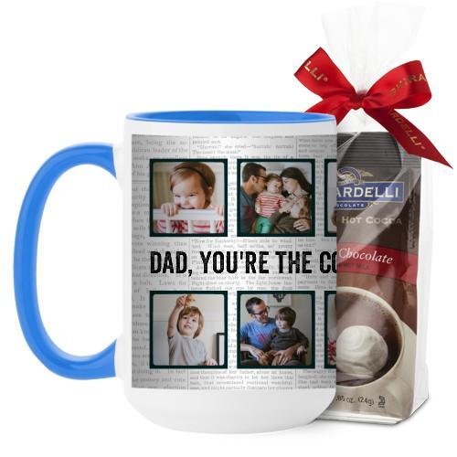Newsprint Mug, Light Blue, with Ghirardelli Premium Hot Cocoa, 15 oz, White