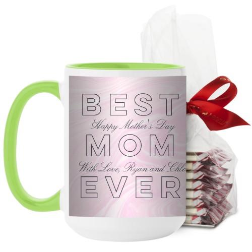 Best Mom Marbleized Mug, Green, with Ghirardelli Peppermint Bark, 15 oz, Pink