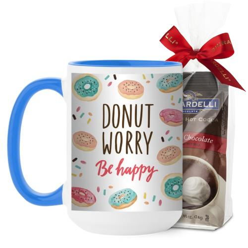 Donut Worry Be Happy Mug, Light Blue, with Ghirardelli Premium Hot Cocoa, 15 oz, White