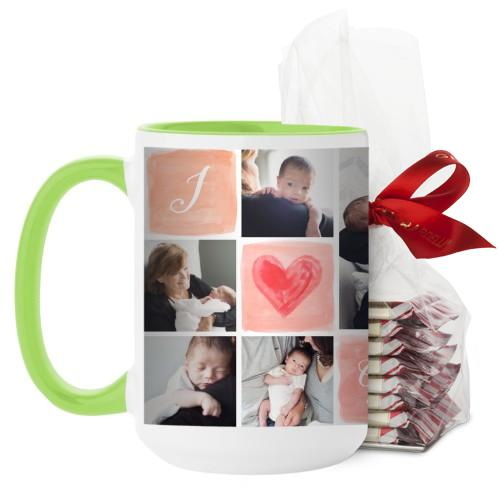 I Love Watercolor Mug, Green, with Ghirardelli Peppermint Bark, 15 oz, Pink