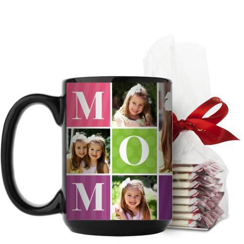 Mom Color Blocks Mug, Black, with Ghirardelli Peppermint Bark, 15 oz, Multicolor