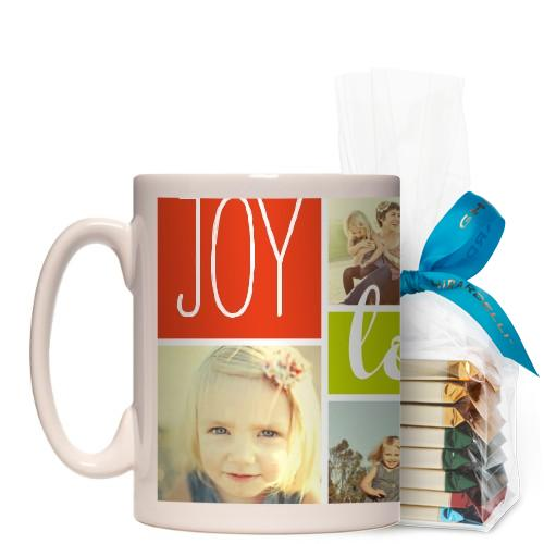 Joy Love Family Mug, White, with Ghirardelli Assorted Squares, 15 oz, Multicolor