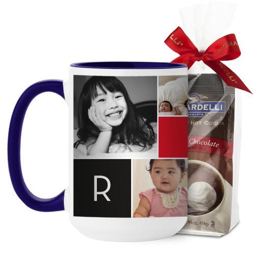 Monogram Memories Mug, Blue, with Ghirardelli Premium Hot Cocoa, 15 oz, Red