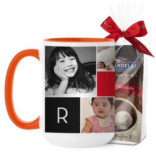 Monogram Memories Mug, Orange, with Ghirardelli Premium Hot Cocoa, 15 oz, Red