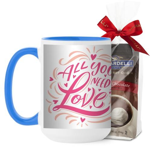All You Need Is Love Scripty Mug, Light Blue, with Ghirardelli Premium Hot Cocoa, 15oz, White