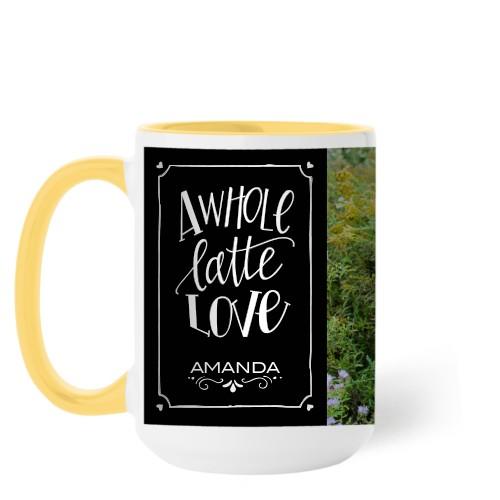 Whole Latte Love Mug, Yellow,  , 15 oz, Black
