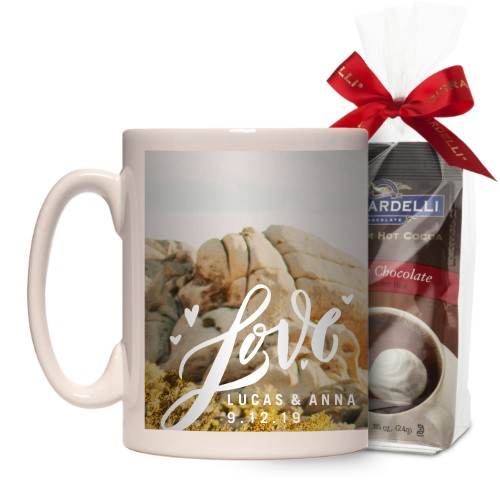 Full of Love Mug, White, with Ghirardelli Premium Hot Cocoa, 15 oz, White