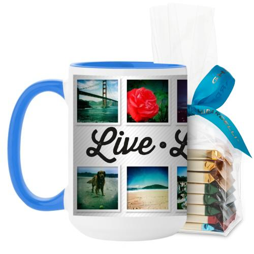 Live Laugh Love Mug, Light Blue, with Ghirardelli Assorted Squares, 15oz, White