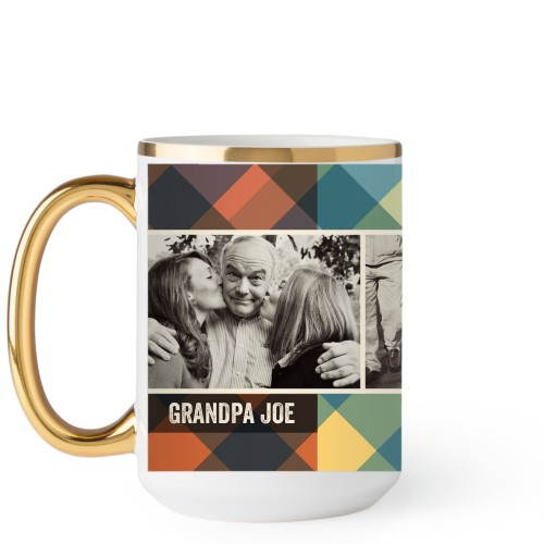 Simple Plaid Mug, Gold Handle,  , 15 oz, Multicolor