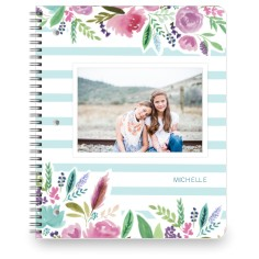 florals and stripes large notebook