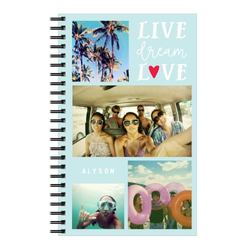 Live Dream Love Notebook, 8x5, Blue