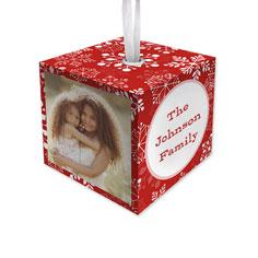 snowflake christmas cube ornament