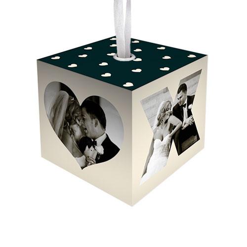 XOXO Heart Cube Ornament, DynamicColor, Cube