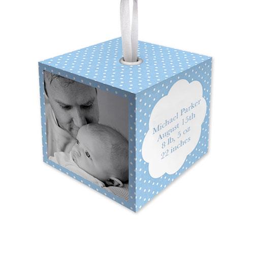Baby Boy Dot Cube Ornament, Blue, Cube