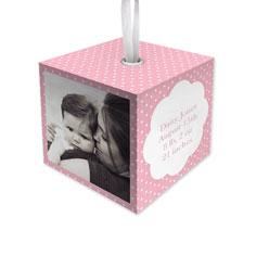 baby girl dot cube ornament