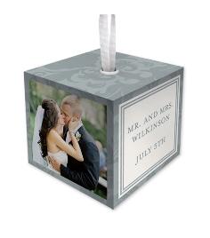 damask wedding cube ornament