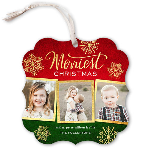 Rustic Framed Flurries Christmas Card, Square