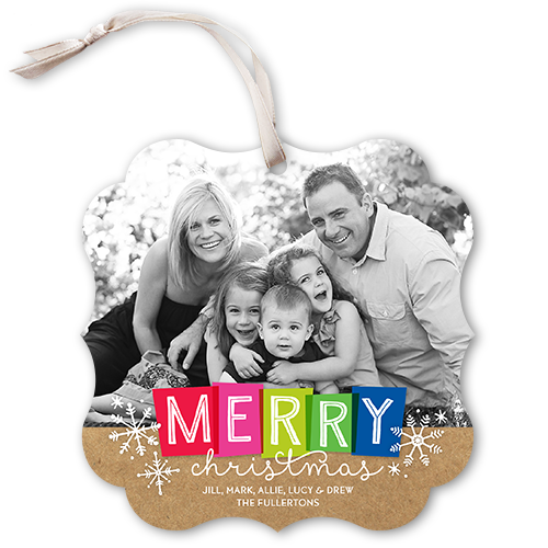 Colorful Merry Blocks Christmas Card, Square