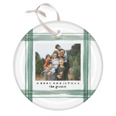 watercolor plaid glass ornament