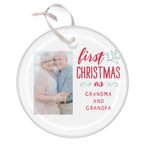 Grandparents First Christmas Glass Ornament, White, Circle
