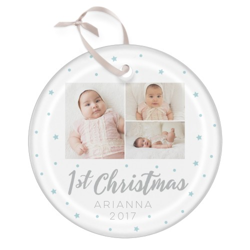 My First Christmas Glass Ornament, White, Circle