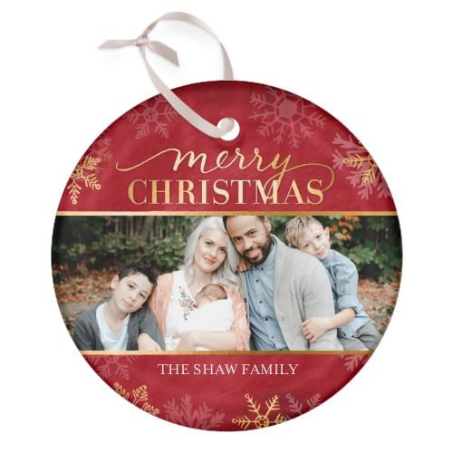 Faux Foil Snowflake Glass Ornament, Red, Circle