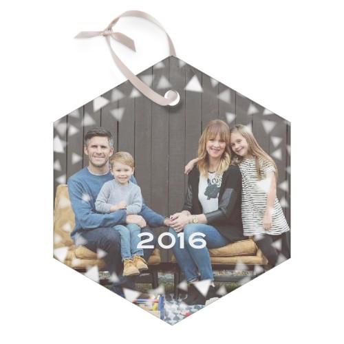 Bokeh Triangles Glass Ornament, White, Hexagon