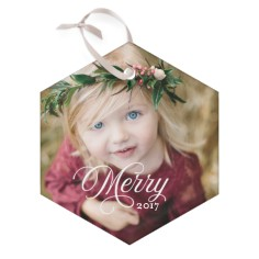 merry script glass ornament