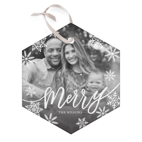 Merry Snowflake Glass Ornament