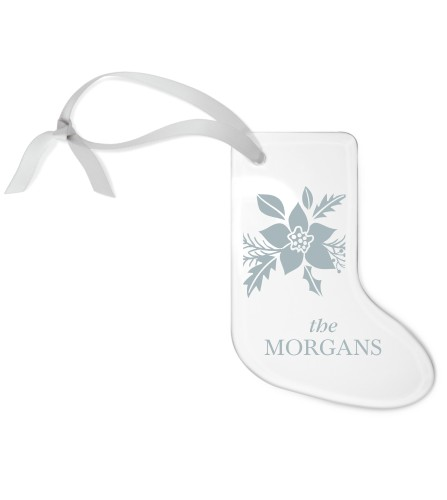 Holiday Poinsettia Etched Glass Ornament, White, Stocking