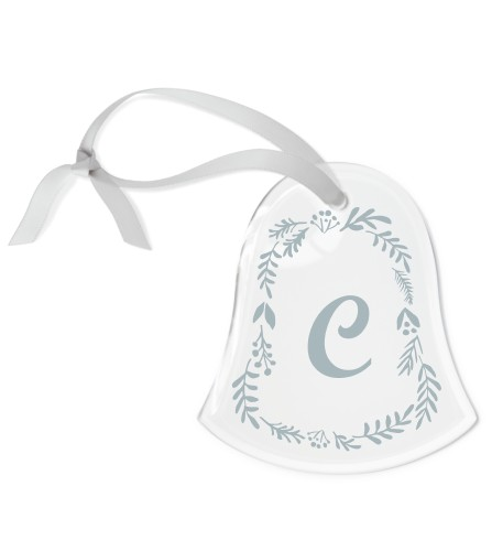 Botanical Frame Etched Glass Ornament, White, Bell