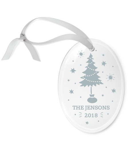 Sparkling Tree Etched Glass Ornament