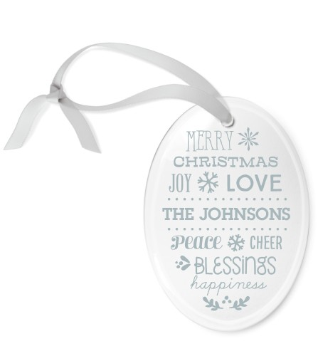 Blessed Christmas Etched Glass Ornament