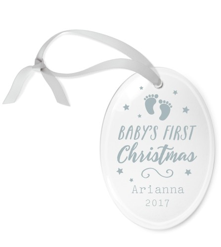 Christmas Footprints Etched Glass Ornament, White, Oval