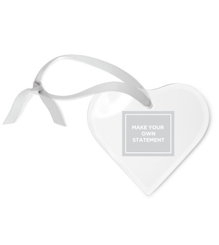 Make Your Own Statement Etched Glass Ornament, White, Heart