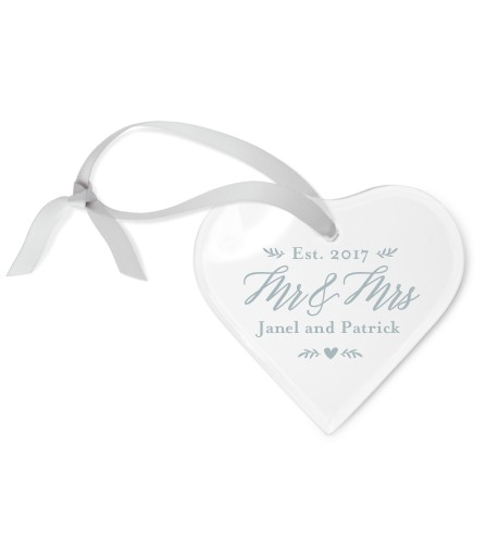 Christmas Love Etched Glass Ornament, White, Heart