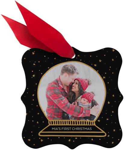 Magical snowfall personalized metal christmas ornaments