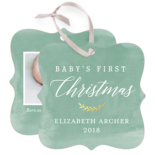 Baby's First Watercolor Snowflake Metal Ornament, Green, Square_Bracket