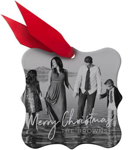 Christmas Script Snowflake Metal Ornament, White, Square_Bracket