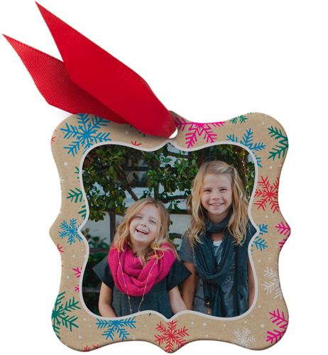 Colorful Snowflakes Snowflake Metal Ornament, Beige, Square_Bracket