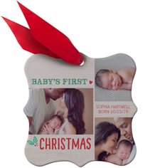 first christmas collage metal ornament