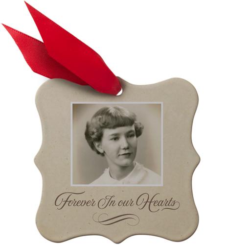 In Memoriam Rectangle Metal Ornament, Beige, Square_Bracket