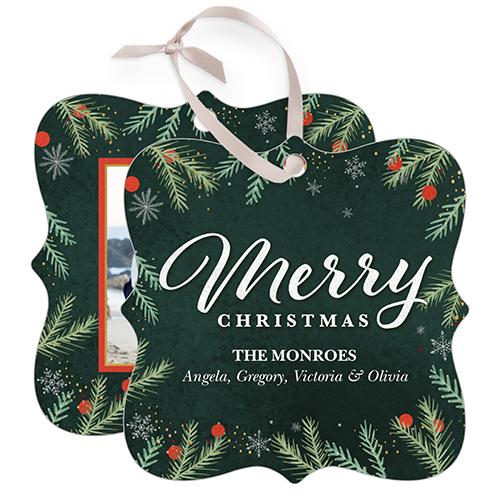Merry Foliage Snowflake Metal Ornament, Green, Square_Bracket