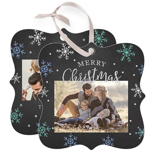 Winter Snowflake Snowflake Metal Ornament, Black, Square_Bracket