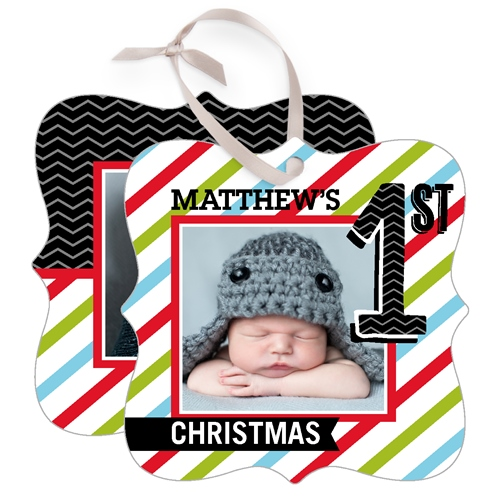 Baby's First Stripes Metal Ornament