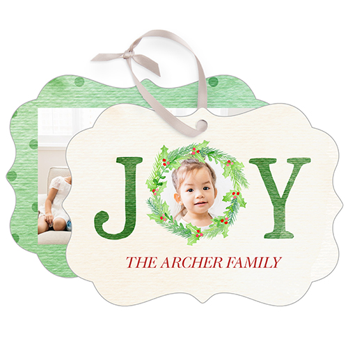 Joy Wreath Snowflake Metal Ornament, Green, Rectangle_Bracket
