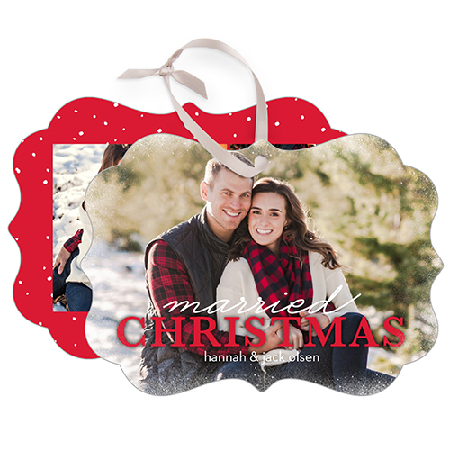 Married Christmas Snowflake Metal Ornament, Red, Rectangle_Bracket