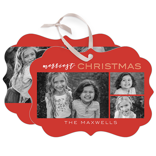 Modern Merry Rectangle Metal Ornament, Red, Rectangle_Bracket