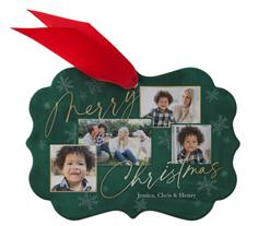 merry christmas snowflakes metal ornament