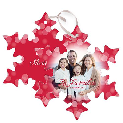 Bokeh La Familia Metal Ornament, Red, Snowflake
